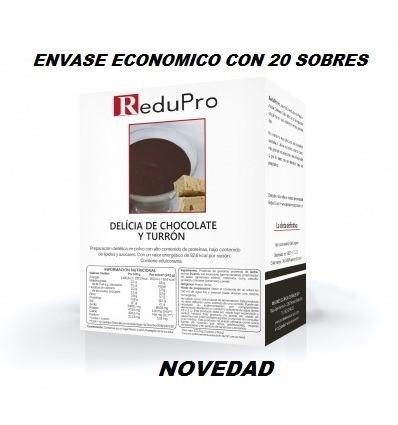 ReduPro Cremoso Delicia de Chocolate y Turron, ENVASE ECONOMICO caja 20 sobres. Tambien Mousse o Bebida.